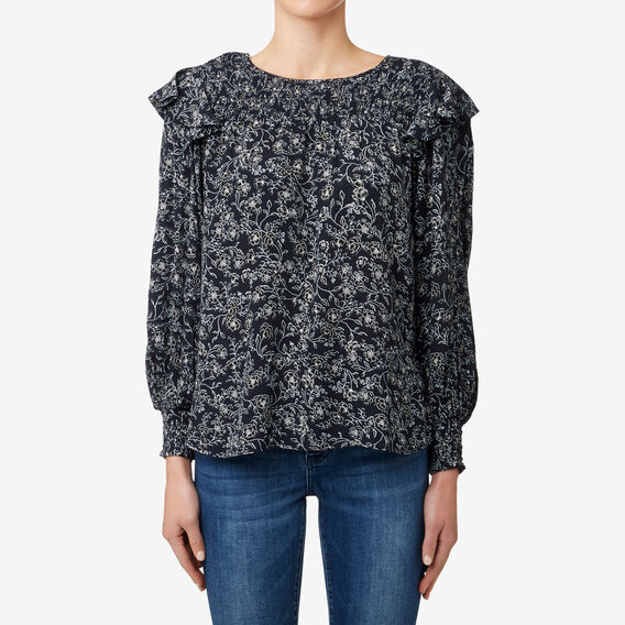 Shirred Floral Yoke Top  FLORAL  hi-res