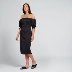 Balloon Sleeve Dress  BLACK  hi-res