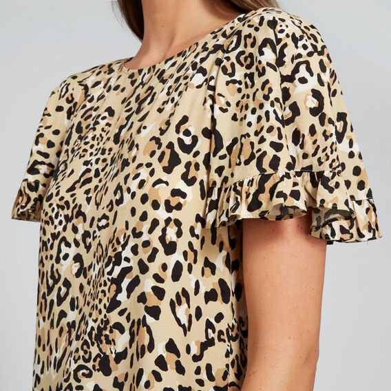 Flutter Sleeve Ocelot Top  ANIMAL PRINT  hi-res
