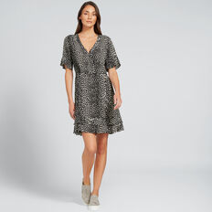 Flutter Sleeve Dress  MONO OCELOT  hi-res