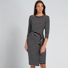 Wrap Tie Dress  BLACK/WHITE STRIPE  hi-res