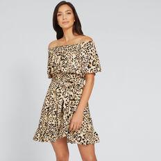 Off-Shoulder Animal Dress  ANIMAL PRINT  hi-res