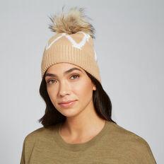 Diamond Knit Beanie  CARAMEL/CREAM  hi-res