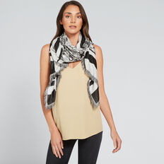 Square Floral Jacquard Scarf  BLACK/CLOUD CREAM  hi-res