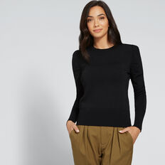 Frill Sleeve Knit  BLACK  hi-res