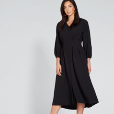 Pleat Detail Dress  BLACK  hi-res