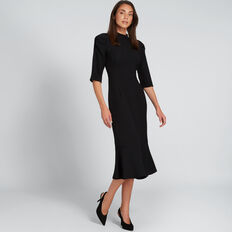 Jacquard Fishtail Dress  BLACK  hi-res