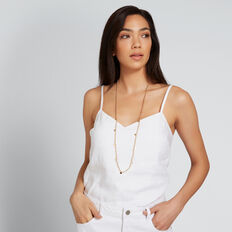 Bead and Disc Necklace  GOLD  hi-res