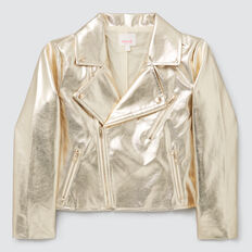 Metallic Biker Jacket  GOLD  hi-res