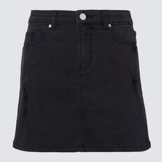 Distressed Denim Skirt  BLACK WASH  hi-res
