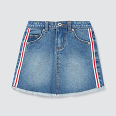 Side Stripe Denim Skirt  VINTAGE BLUE WASH  hi-res