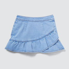 Frill Denim Skirt  BRIGHT WASH  hi-res