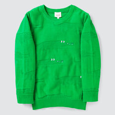 Jacquard Crew Knit  RETRO GREEN  hi-res