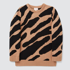 Animal Jacquard Sweater  BISCUIT  hi-res