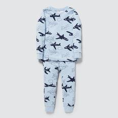 Plane Print Pyjamas  SLEEPY BLUE MARLE  hi-res