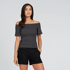 Off-Shoulder Stripe Top  BLACK/WHITE STRIPE  hi-res