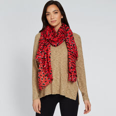 Mixed Print Scarf  RED MULTI  hi-res