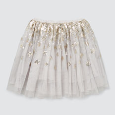 Sequin Star Skirt  PEARL GREY  hi-res