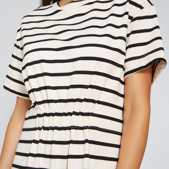 Cinched Waist Casual Dress  OYSTER CREAM STRIPE  hi-res