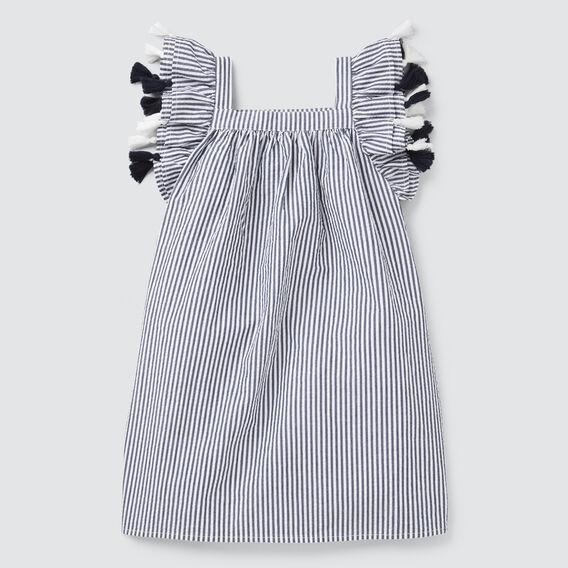 Seersucker Tassel Dress  NAVY/WHITE  hi-res