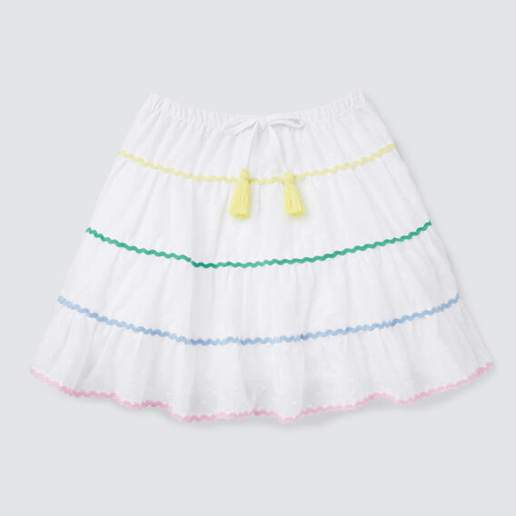 Rainbow Ric Rac Skirt  WHITE  hi-res
