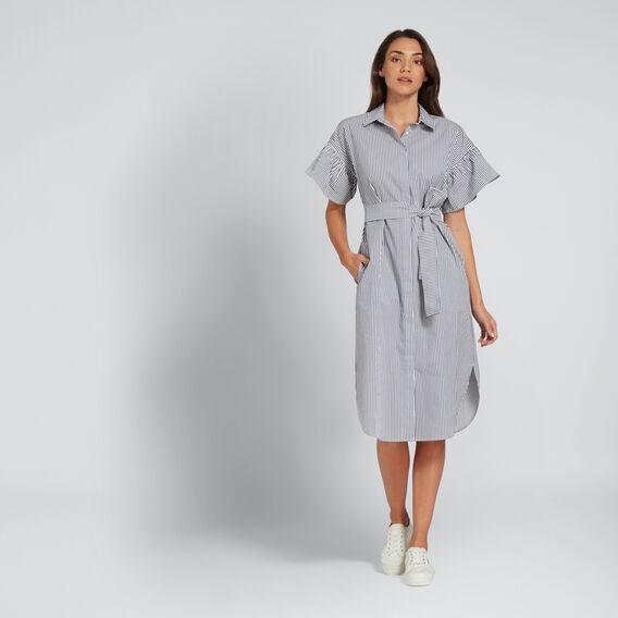 Frill Sleeve Shirt Dress  DEEP NAVY STRIPE  hi-res