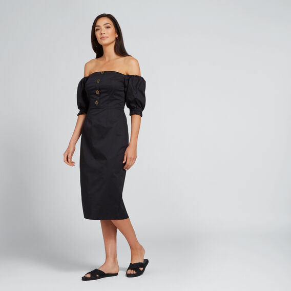 Balloon Sleeve Dress  BLACK  hi-res