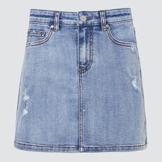 Distressed Denim Skirt  VINTAGE WASH  hi-res