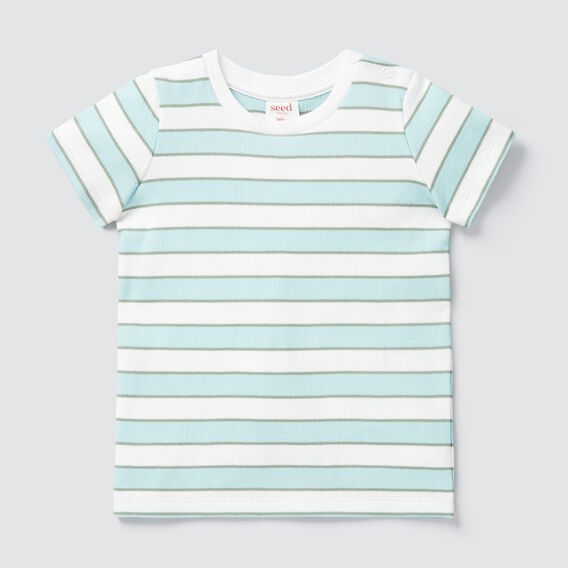 Stripe Rib Tee  AQUA  hi-res