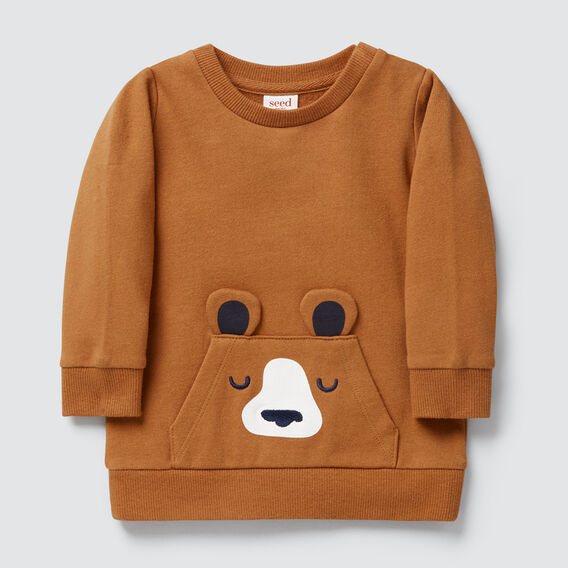 Bear Pocket Crew Sweater  NUTMEG  hi-res