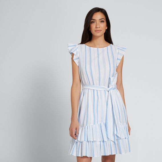 Ruffle Hem Stripe Dress  COOL BLUE STRIPE  hi-res
