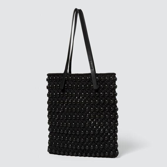 Crochet Beaded Tote  BLACK  hi-res