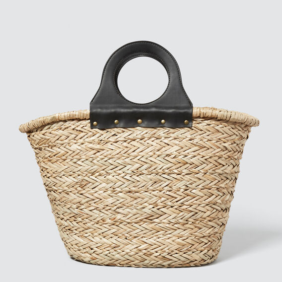 Round Handle Straw Tote  NATURAL/BLACK  hi-res