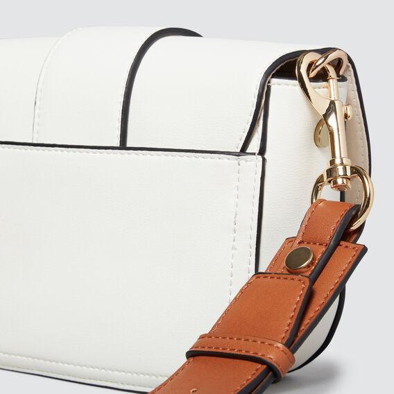 Tort Buckle Cross Body Bag  WHITE/TAN  hi-res