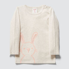Bunny Print Tee  OAT MARLE  hi-res