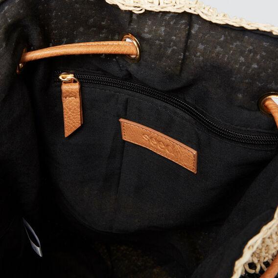 Naomi Stripe Backpack  BLACK/NATURAL  hi-res