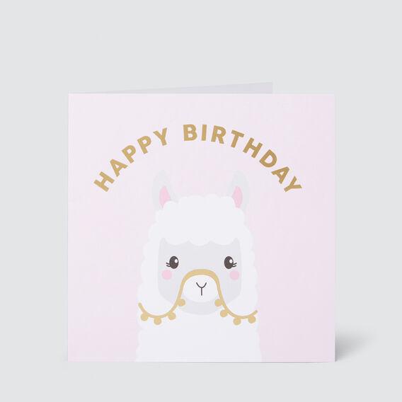 Large Happy Birthday Llama Card  MULTI  hi-res
