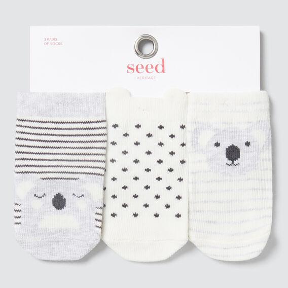 3-Pack Koala Socks  GREY MARLE  hi-res