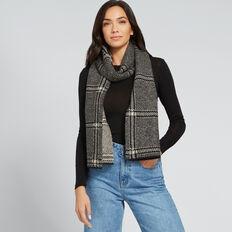 Knit Check Scarf  BLACK/WHITE  hi-res