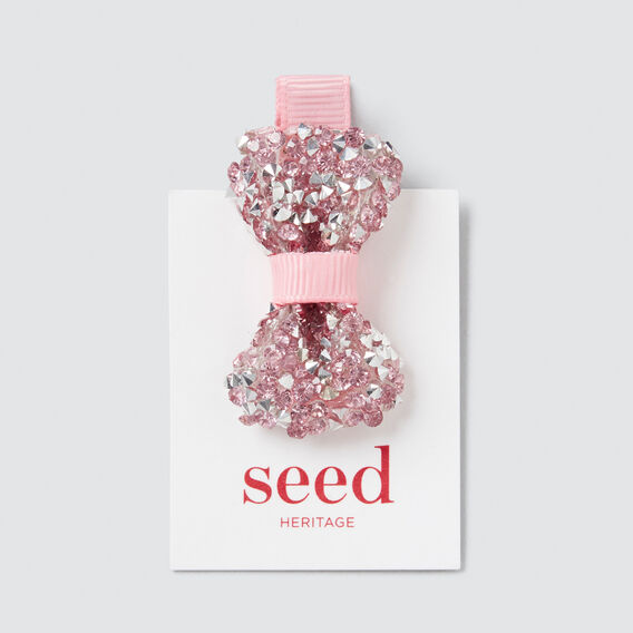 Mini Gem Bow Duck Clip  PINK  hi-res