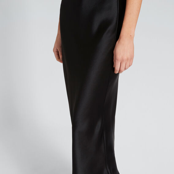 Satin Midi Skirt  BLACK  hi-res