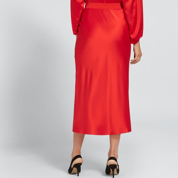 Satin Midi Skirt  FIERY RED  hi-res