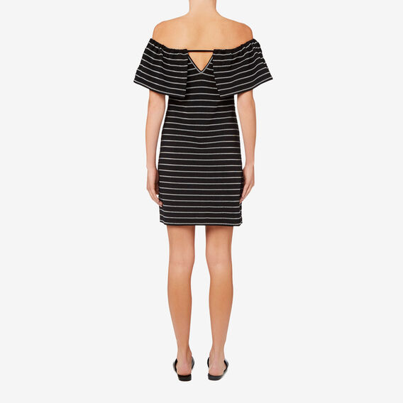 Off Shoulder Stripe Dress  STRIPE  hi-res