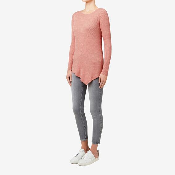 Rib Asymmetrical Sweater  SOFT BLUSH  hi-res