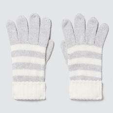 Knitted Stripe Gloves  CLOUD  hi-res