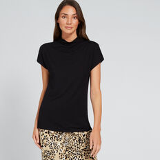 Mock Neck Drapey Top  BLACK  hi-res
