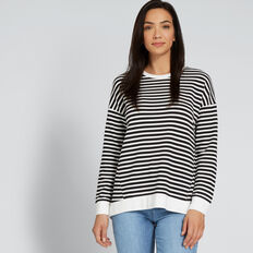 Asymmetric Hem Top  BLACK/CREAM STRIPE  hi-res