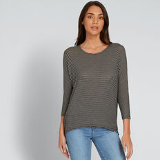 Slouchy 3/4 Sleeve Top  BLACK/CREAM STRIPE  hi-res