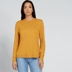 Linen Blend Top  GOLDEN MUSTARD  hi-res