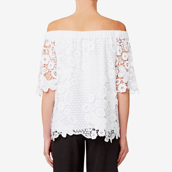 Off Shoulder Lace Top  BRIGHT WHITE  hi-res